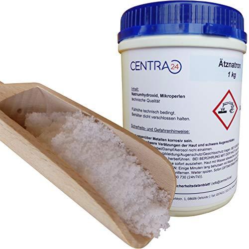 Centra24 Natriumhydroxid, Perlen, 1 KG in Dose, Ätznatron, Laugenperlen, Abbeizen, Lauge, Seife, Reiniger, Kaustisches Soda, NaOH, Seifennatron, Industrie, Labor, Rohrreiniger