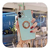 HWOZ Compatible for iPhone 12Pro用の高級メッキケースCompatible for iPhone 11用のソフトシリコンカバー12Pro Max Mini XS Max X XR 7 8Plusケースリング付き-Cyan-Compatible for iPhone X or XS