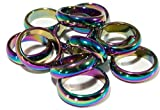Novelties Company 24 Pieces Wholesale Bulk lot of Rainbow Real Hematite Stone Band Rings - Assorted Sizes