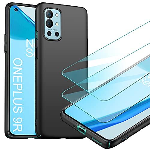YIIWAY Compatible avec Coque OnePlus 9R + [2 Pièces] Verre trempé Protection écran, Noir Très Mince Coque Étui Housse Rigide Case Compatible avec OnePlus 9R YW42233