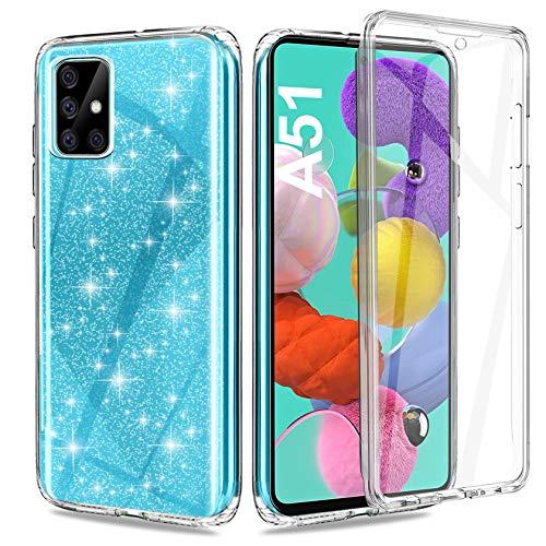 ivencase - Carcasa para Samsung Galaxy A51, transparente, brillante, protección 360°, TPU, resistente, con protector de pantalla integrado, resistente a los golpes, resistente a los arañazos