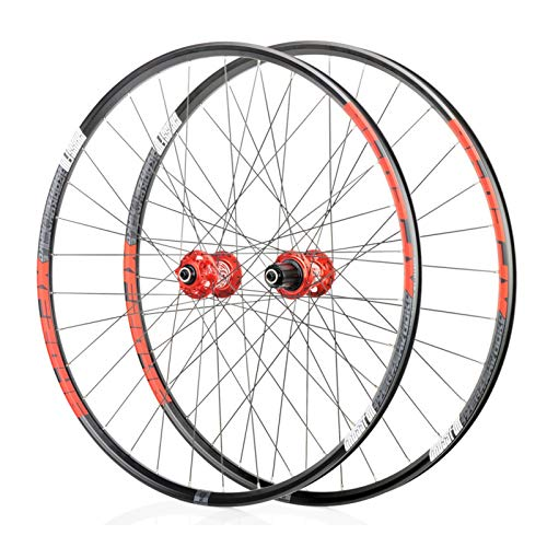 Mountain Bike 26/27.5/29 Inch Wheels, MTB Aluminum Alloy Wheels, Bearing F2/R4, 6 Paw 72click System, Suitable for Road Bikes, Racing Wheel Parts (Black/red) (Size : 26')