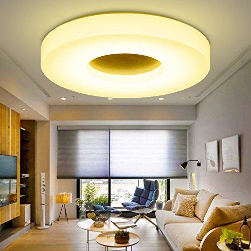 ENG Salon LED Balcon Plafonnier Chambre Moderne Nordique en Bois Massif  Acrylique Ultra-Mince Lumière,29cm,Lumière Bicolore