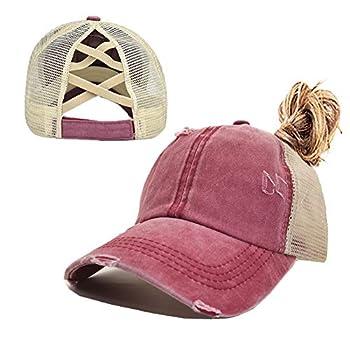 Criss Cross Ponytail Baseball Cap for Womens Men Adjustable Dad Trucker Mesh Hat Red Wine