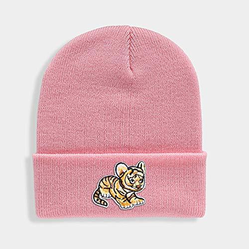 Hüte,Unisex Winter Mütze Für Kawaii Tiger Patch Gestrickte Hüte Brimless Warmen Gerippte Handschellen Pink Fashion Outdoor Dick Cap...