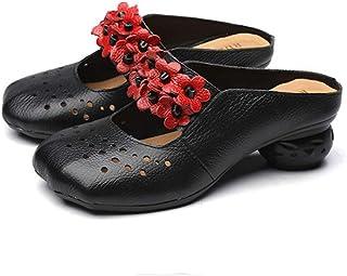 Sandalias Mujer, Popoti Sandalias Verano Cuero Zapatillas Mocasines Chanclas Tacón de Zapatos de Flores Vintage (40, Azul-1)