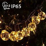 Quntis 11,7M IP65 LED Lichterkette Außen, 30er G40 Glühbirnen E12 Warmweiß+3 Ersatzglühlampe, 155 LEDs, Wasserdicht Outdoor/Indoor Deko Licht...