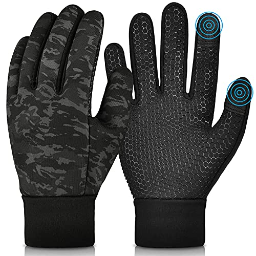Kids Winter Warm Gloves with Grip - Boys Girls Thermal Fleece Running Cycling Gloves Touch Screen Cold Weather Soft Anti Slip Mittens for Sport Ski Snow Bike Hiking 10-12 Years