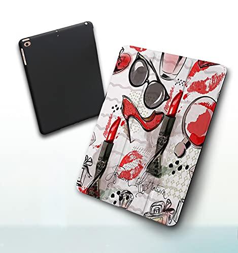 Funda para iPad 9,7 Pulgadas, 2018/2017 Modelo, 6ª / 5ª generación,Ilustración de Moda o patrón con lápiz Labial Rojo, Zapatos, Gafas y Perfume Smart Leather Stand Cover with Auto Wake/Sleep