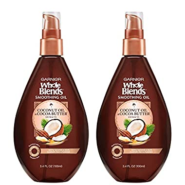 Garnier Hair Care Whole Blends Smoothing Oil with Coconut Oil & Cocoa Butter Extracts, 3.4 Fl Oz (2 Count)