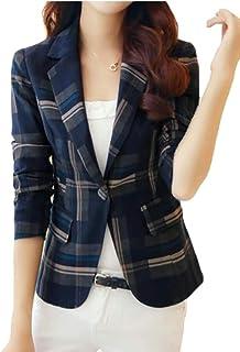 chenshiba-JP 女性の1つのボタンスリムフィット格子縞カジュアルOL着用する作業スーツブレザージャケット
