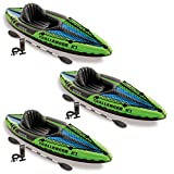 Intex Challenger K1 1-Person Inflatable Sporty Kayak w/Oars and Pump (3 Pack)
