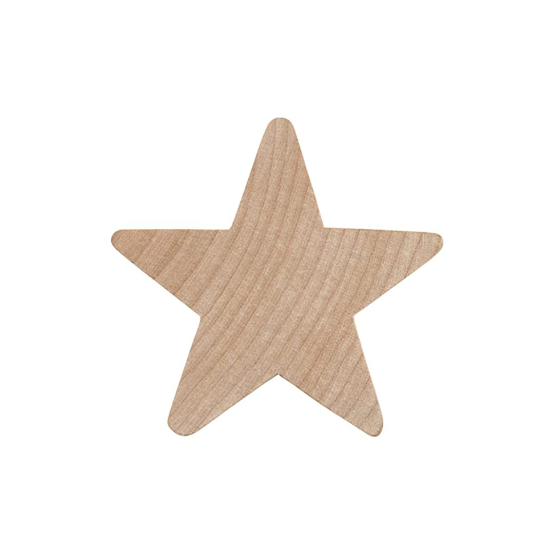 """2"""" Wood Star, Natural Unfinished Wooden Star Cutout Shape (2 Inch) - Bag of 25"""