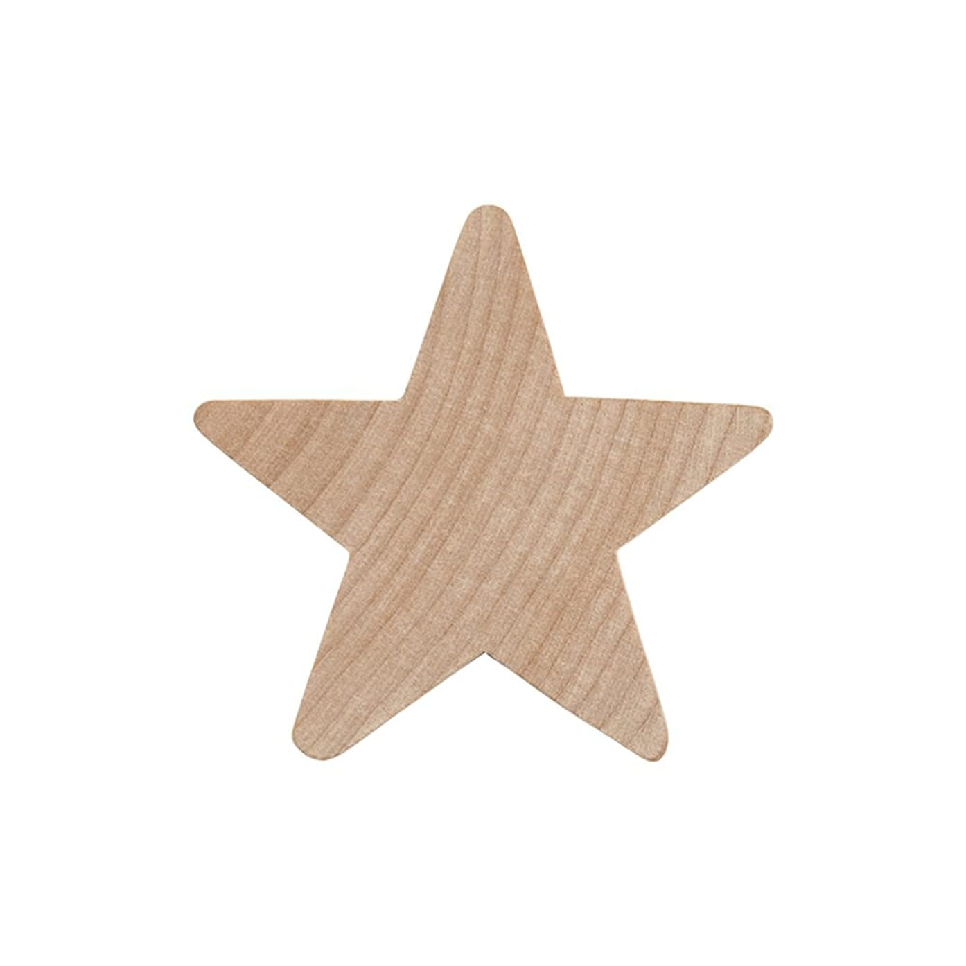 """2"""" Wood Star, Natural Unfinished Wooden Star Cutout Shape (2 Inch) - Bag of 100"""