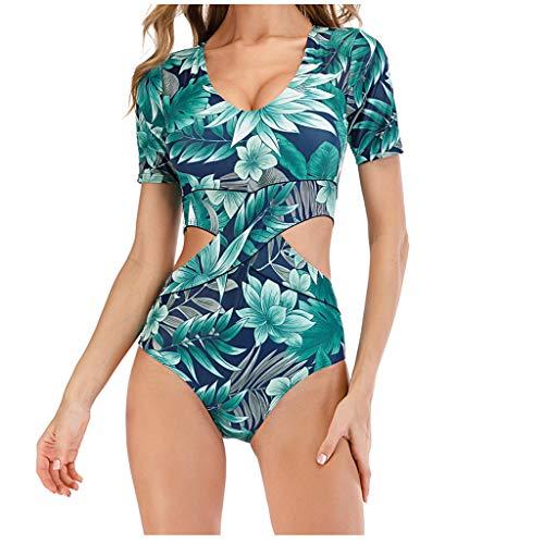 Sylar Traje de Baño Una Pieza para Mujer Bikini Push Up Mangas Cortas para Natación Bañador Estampado Floral para Surfing Ropa de Baño para Deportes Acuáticos