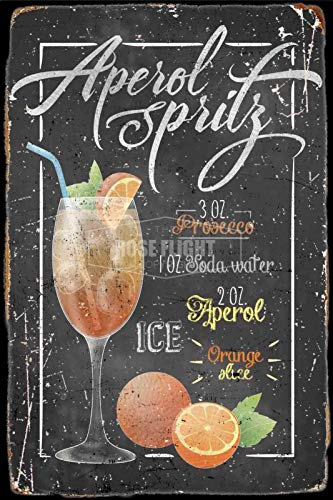 APEROL Spritz Cocktail Bar' Tin/Metal Style Street Poster for Men Women Sign Garage Decor for Club Bar Diner Family Farmhouse Outdoor Decoration, 8x12 Inche