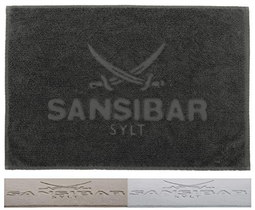 Sansibar Badvorleger 50x80 cm 100% Baumwolle Fein-Flor Badteppich Badematte Anthrazit Einzeln