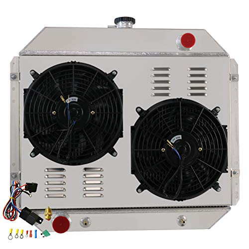 ALLOYWORKS 4 Row All Aluminum Radiator+Shroud Fan+Thermostat For 1966-1979 Ford F100 F150 F250 F350 Bronco V8 AT/MT