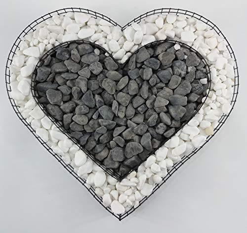 Gartenwelt Riegelsberger Herz Gitter mit kleinen Carrara & Nero Ebano Steinen für Allerheiligen Grabschmuck Grabgestaltung Grabdeko Pflanzschale