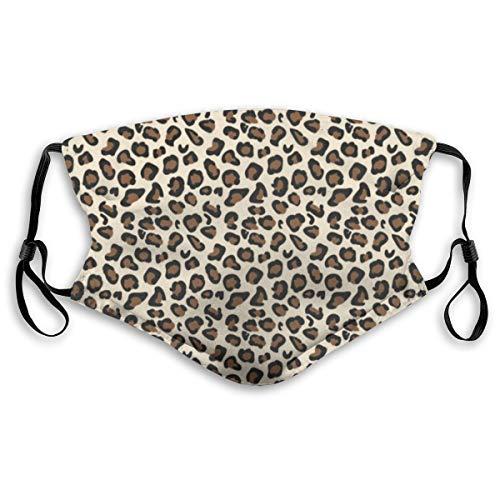 Unisex Gesichtsabdeckung, verstellbar, Anti-Staub-Mundschutz, waschbar, wiederverwendbar, für Radfahren, Camping, Reisen, Leopard Print