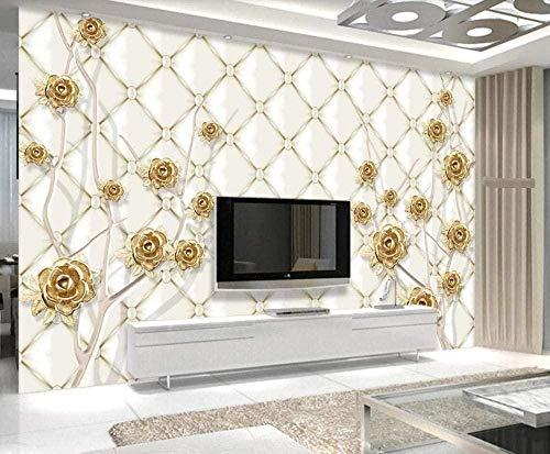 ZZXIAO Geprägter goldener Blütenstiel wandpapier fototapete 3d effekt tapete Wohnzimmer Schlafzimmer Hintergrundbild-200cm×140cm