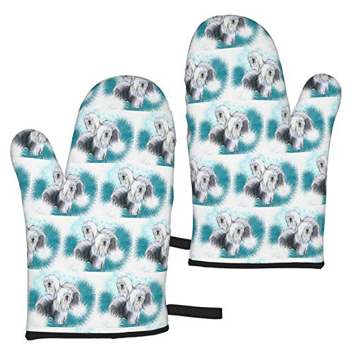 XCNGG Old English Sheepdog Oven Mitts Fashion Soft Non-Slip Heat Resistant Safe Cooking Baking Grilling BBQ Party Kitchen Microwave Oven Funny Home
