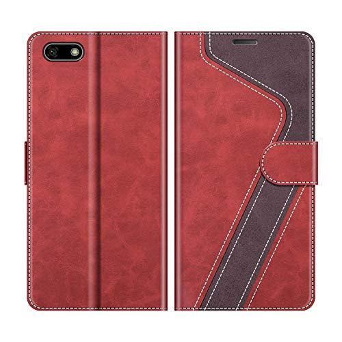MOBESV Handyhülle für Huawei Y5 2018 Hülle Leder, Honor 7S Handyhülle, Huawei Y5 2018 Klapphülle Handytasche Hülle für Huawei Y5 2018 / Honor 7S Handy Hüllen, Modisch Rot