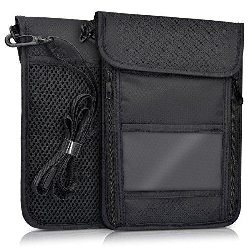 kwmobile borsello da viaggio anti-RFID porta documenti - porta documenti a tracolla con blocco RFID - borsa portafoglio per cellulare biglietti pass - tasche multiple nero