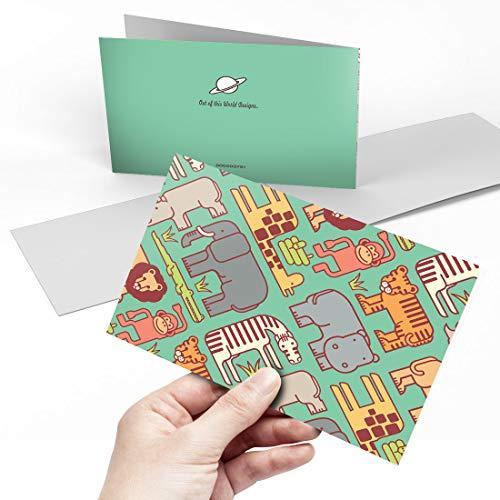Biglietto Di Auguri (A5) – Cartoni Animati Zoo Animali Elefante Vuoto Biglietto Di Auguri Di Compleanno Per Bambini E Ragazze #3751