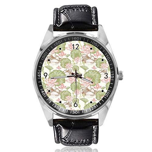 Flowers Lilies, orologio da polso analogico al quarzo, con quadrante argentato, cinturino in pelle, da uomo e donna