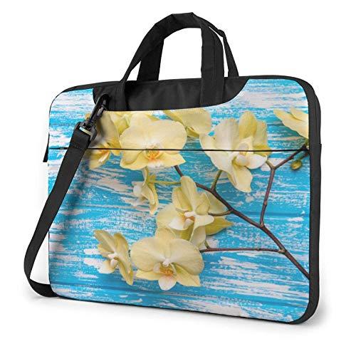 Laptop Messenger Laptop Bag Azul Madera Amarillo Tulip Hombro Maletín Maletín Oficina Funda para portátil Estuche Satchel Tablet para Hombres Mujeres