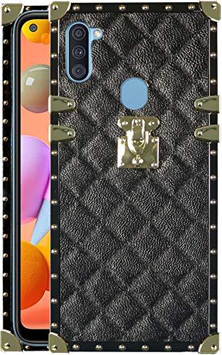 Galaxy A11 case Square Compatible with Samsung Galaxy A 11 Cases Trunk Rectangle Plaid Cover galaxya11 11a Box Girly Luxury galxy samsunga11 Stylish Girls Women Bumper funda Elegant 6.4 inch (Black)