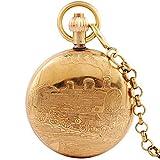 OMYLFQ Relojes de Bolsillo Reloj de Bolsillo Reloj de Bolsillo mecánico automático de los Hombres de Cobre Puro tirón Retro nostálgico Reloj de Bolsillo del Collar del Reloj Relojes Fob