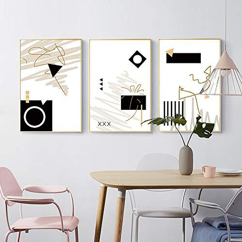 ZHQHYQHHX Kreative Geometrische Muster Triple-Gold Frame Abstrakte Kunst-Wandwand-Dekoration Moderne minimalistische Gemälde Home Hotel Restaurant Cafe 3pcs Set Hängende Malerei (Size : 60cm*80cm)