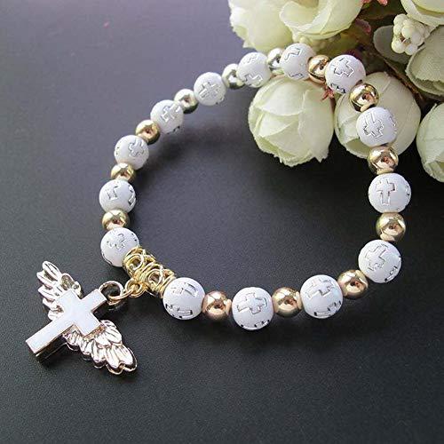 manda Stell One Decade Auto Rosenkranz Perlen katholisches Armband St. Benedikt Medaille Kruzifix göttliche Barmherzigkeit Mittelstück Heiliges Land Geschenk (weiß)