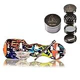 Pipa de silicona pequeña - THE BOAT Patricia 10cm + THE BOAT Grinder metalico Ligero 4 Piezas Color Plateado con rascador - Kit para fumar tabaco