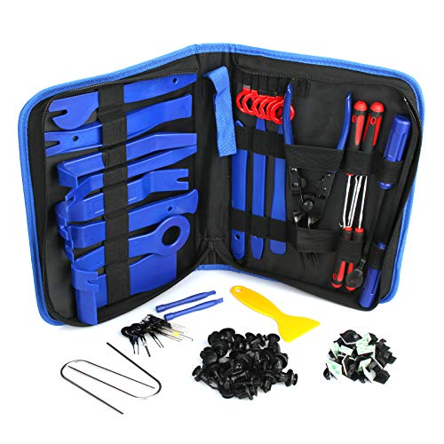Trim Removal Tool, 120Pcs Car Panel Door Audio Removal Tool Kit, Auto Clip Pliers Fastener Remover Pry Tool Set with Storage Bag