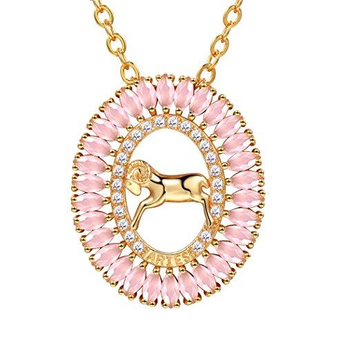 Suplight Hohl Oval Anhänger Sternzeichen Widder Sternbild Halskette 18k vergoldet Rosenquarz Stein Geburtstag Geschenk für Damen Frauen Mädchen