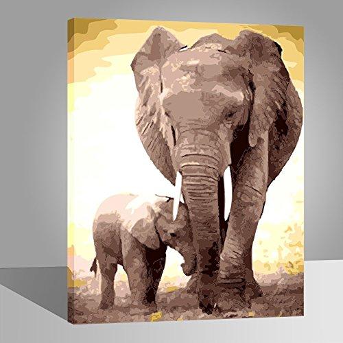 RIHE Cadre en Bois, Peinture par Numero Kits avec Brosses et Peintures pour Adultes Enfants Seniors Débutant Acryliques Kits de Peinture sur Canevas- Éléphant Maman et Fils 16 * 20 Pouces