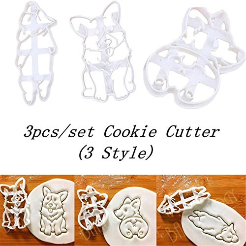 Corgi Cookie Cutters Set Funny Plastic 3D Biscuit Cutter Stamp Sugar Molds For Kids French Bulldog Dog Cookie Cutter 3Pcs(ABC)