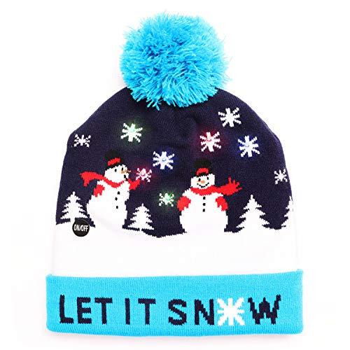 LED Weihnachtsmütze Erwachsene - Unisex Nikolaus Mütze mit Bommrel - Blaue Dehnbare Strickmütze mit 6 LED-Lichtern - mit Schneefall bedruckt - Leuchtende-Weihnachtsmütze für Weihnachtsfeier
