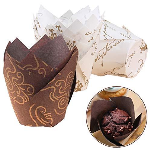 Seatek 100 Stücke Cupcake Wrapper, Backförmchen aus Papier in Tulpenform, für Kinder Geburtstag Party, Familien Cupcakes Backwerkzeuge, Backkurse Kuchenladen, Hochzeit Kuchen Deko