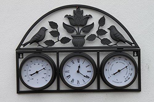 Garten-Wanduhr, Thermometer und Hygrometer, Vogel- und Blatt-Design, mit gratis Batterie für den Innen- und Außenbereich