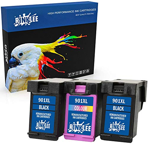 RINKLEE Wiederaufbereitete Tintenpatrone für HP 901 901XL kompatibel mit HP OfficeJet 4500 J4500 J4524 J4535 J4540 J4550 J4580 J4624 J4660 J4680 J4680c G510a G510g G510n   2 Schwarz, 1 Farbig