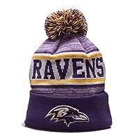 2019 Fans Hats Winter Knit Hat Men Cuffed Beanie Hat Women for Gift Sports Hat Fashion Toque Cap (Baltimore_Ravens) Purple