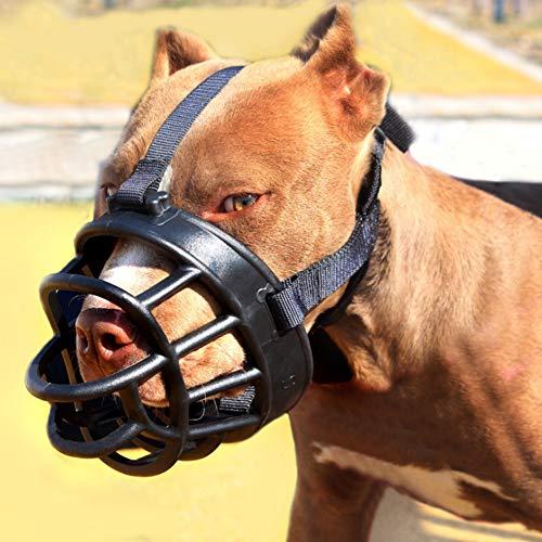 LOMYLM - Bozal de perro para evitar morder/ladrar/masticar, cesta de silicona ajustable para perros bozales que permite beber/comer/jadear (tamaño 4#)