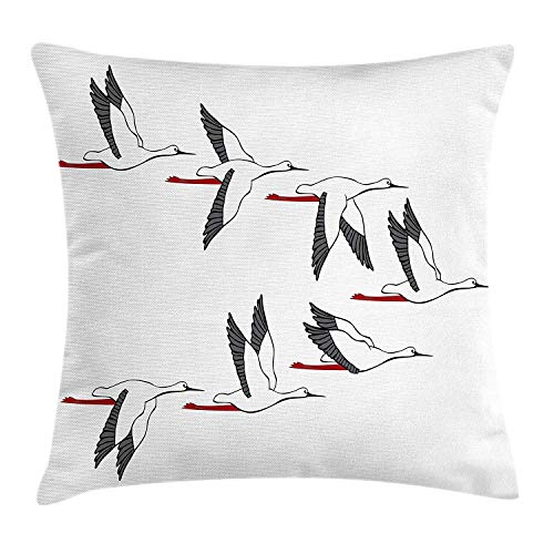 dingjiakemao Birds Throw Kussensloop, The Harmonious Flight Pattern of The Cranes Sublime Nature Ancient Animal, Decoratieve Square Accent Pillow Case, 18 x 18 inches, Dark Grey Ruby White
