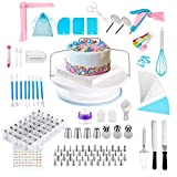 Cake Decorating Kit Supplies with Turntable, Piping Set and Icing Tip Storage Box, Cake Leveler, Offset Spatula, Cake Smoother, Silicone Piping Bag, and Baking Tools Cookie Decorating Supplies