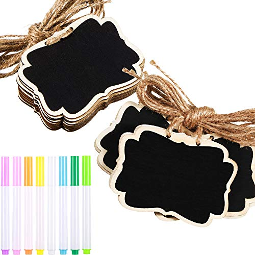36 Pieces Mini Wooden Chalkboard Tags with 8 Pieces Markers, Double Sided Blackboard Signs Labels with Hanging String for Marking Tags, Message Tags, Wedding Party Decoration Tags