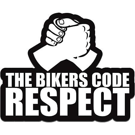 Biomar Labs 1 Stück Vinyl The Bikers Code Respect Aufkleber Autoaufkleber Stickers Auto Moto Motorrad Fahrrad Helm Fenster Tuning B 119 Auto
